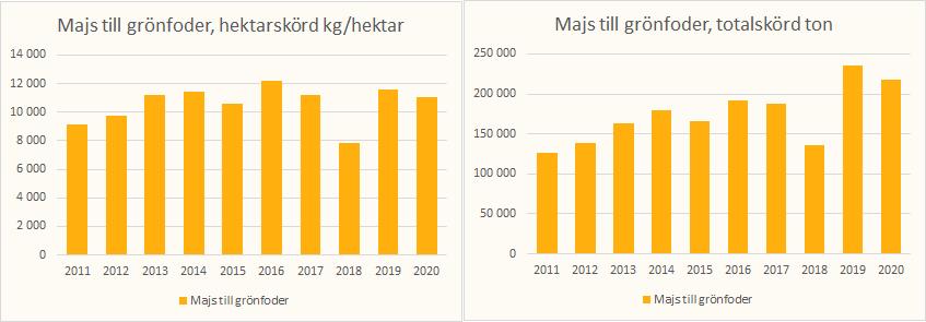 Hektarskörd majs till frönfoder åren 2011-2020 mellan 10 000 och 11 000 kg per hekaar med en dipp 2018 till 8000 /kg per hektar. Toralskörden de senaste två åren drygt 200 000 ton.
